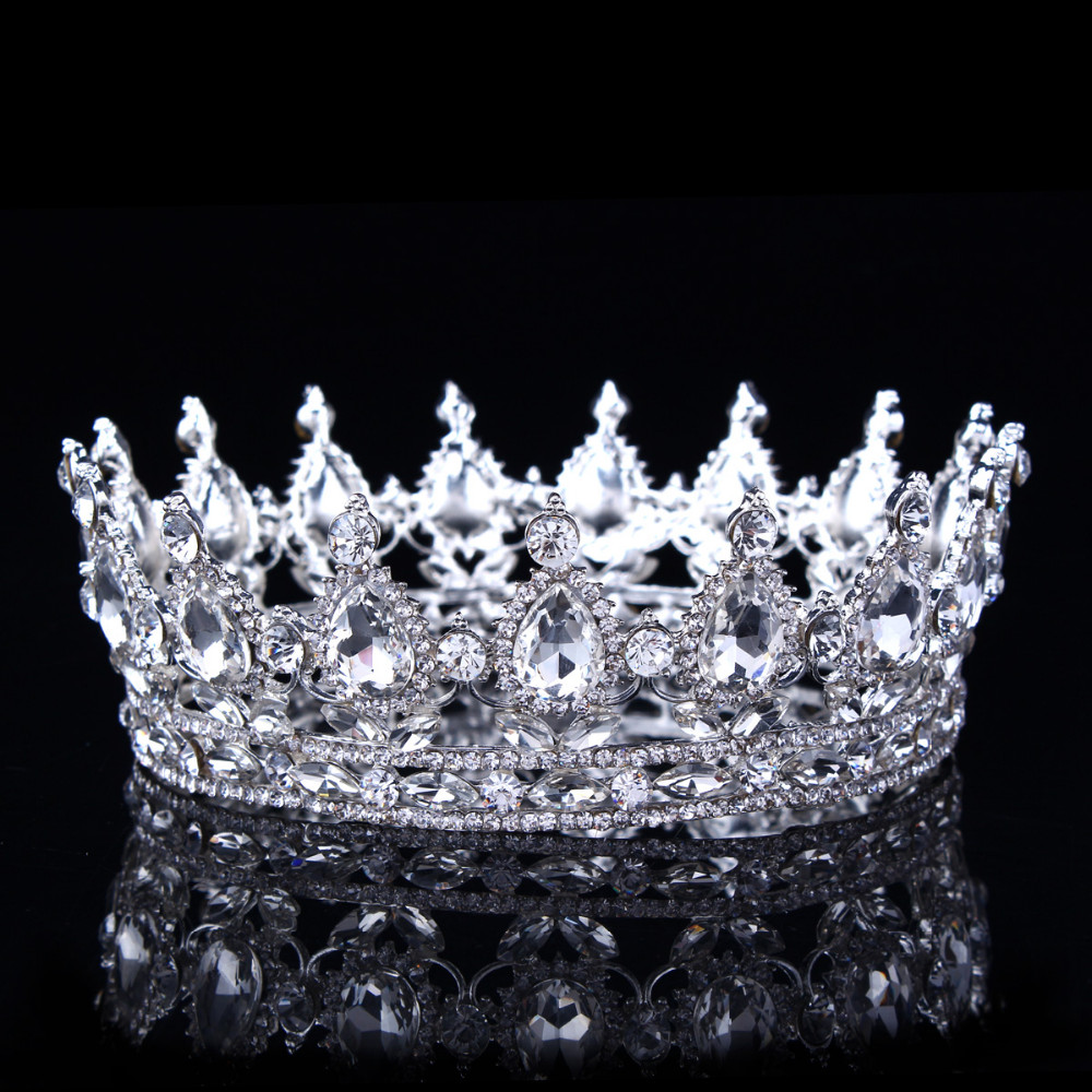 Vintage Barok Crystal Rhinestone Crown Toy Toy Princess Crowns for Women Promant Saç Aksesuarları Zərgərlik , Gümüş