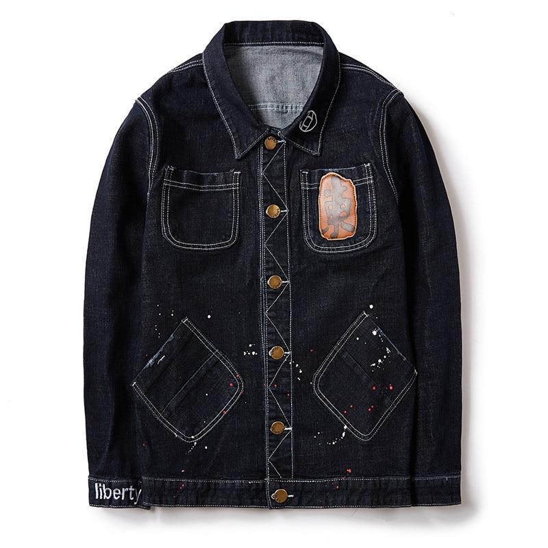 Idopy Men Baggy Stretch Jean Jackets Fashion Painted Denim