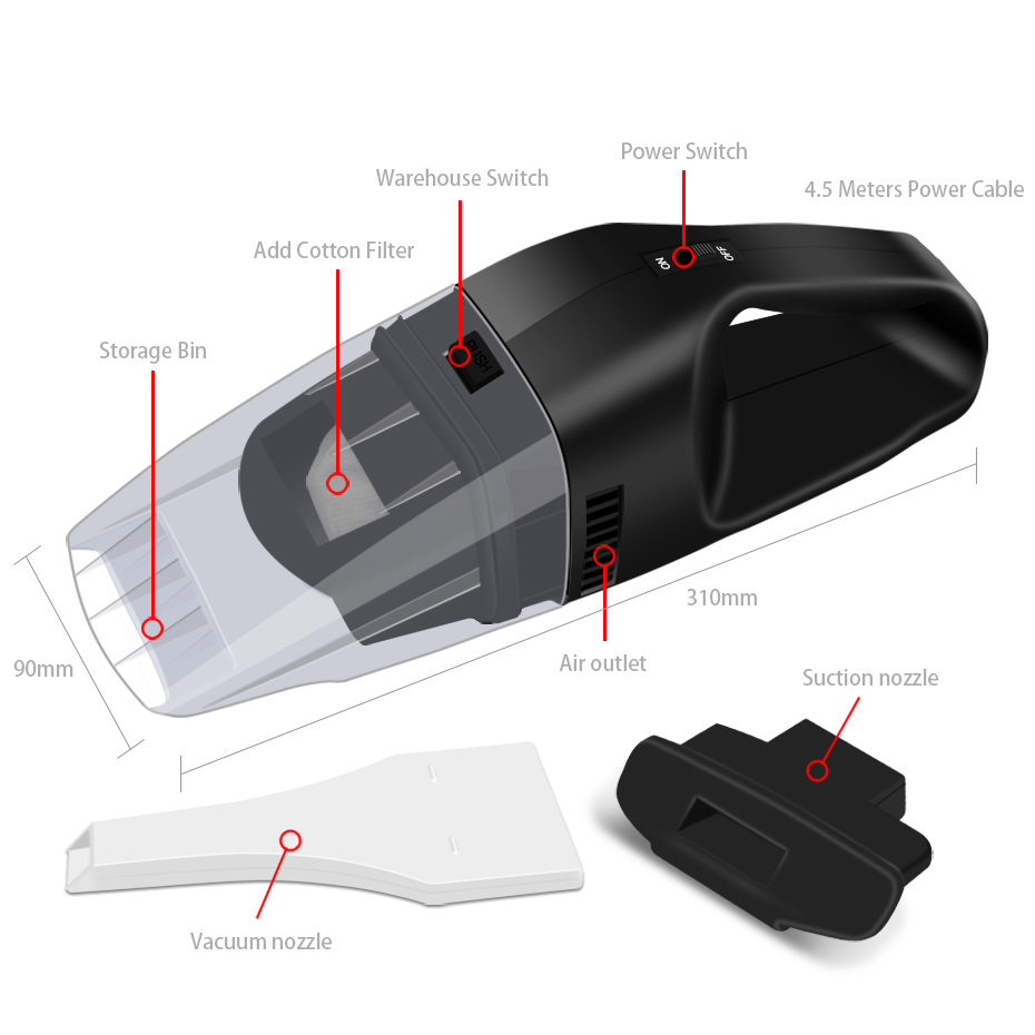 2018 100W MUNSS Mini Car Vacuum Cleaner Car Cleaner Handheld Portable 12V Powerful Auto Cleaning Tools Car Auto Vacuum Cleaner (8)