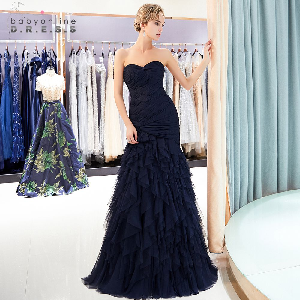 Babyonline Ruffled Navy Blue Burgundy Mermaid   Evening     Dresses   Long 2019 Sexy Backless Formal   Evening   Gowns Robe de soiree