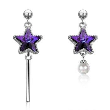 Nuevo cristal de Swarovski pendientes púrpura estrella mujeres asimetría perla gota pendiente 925 Plata aniversario joyería alta calidad