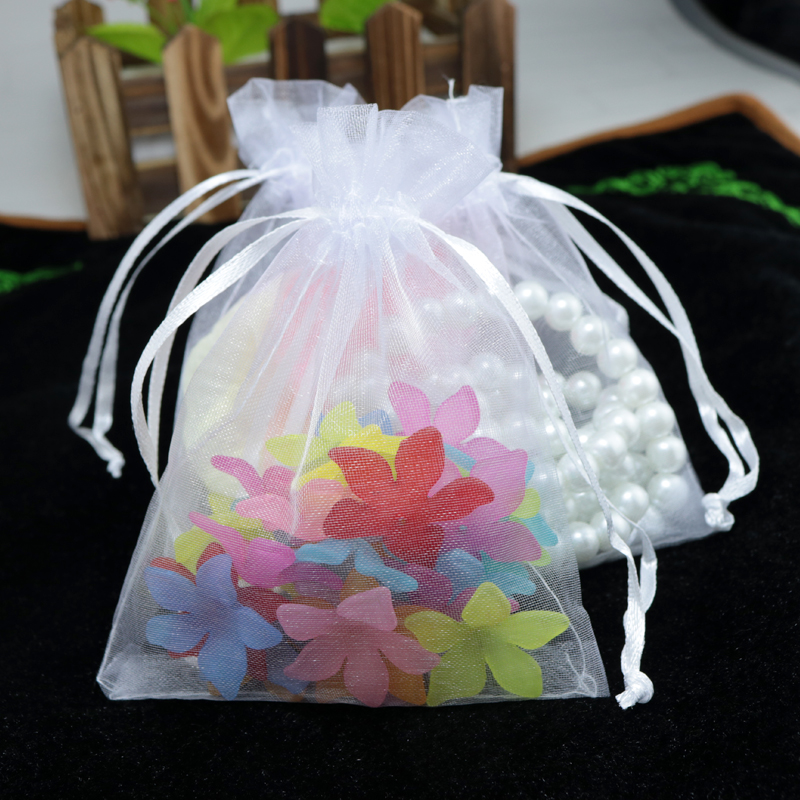 100pcs/lot 5x7cm White Color Jewelry Bags Packing Small Drawable Organza Bags Wedding Gift Bags Sachet Organza