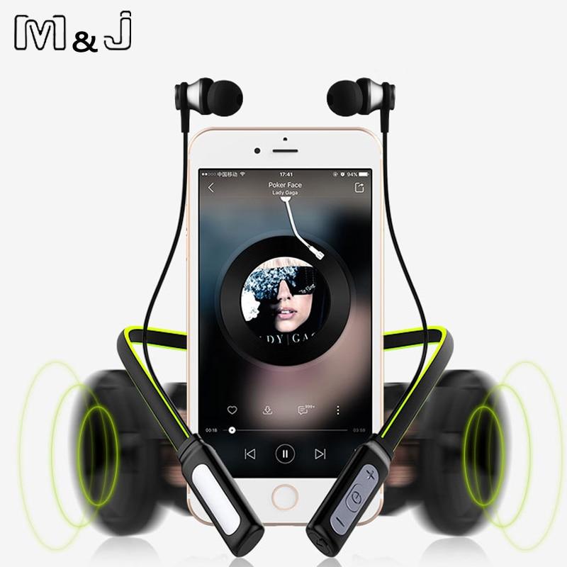 M & J 12 Jam Bermain Masa Depan Wireless Bluetooth Headphone Leher Sukan Stereo Magnetic Kalis Air Dengan Mikrofon MIC Untuk iphone xiaomi
