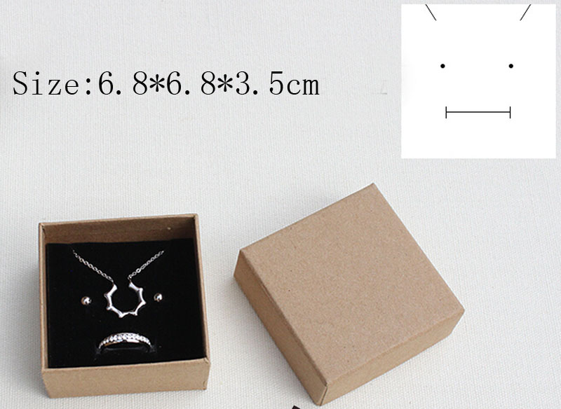 6.8*6.8*3.5cm Free shipping wholesale 80pcs/lot box for jewelry ring earring packaging boxes gift jewelry box kraft paepr boxes