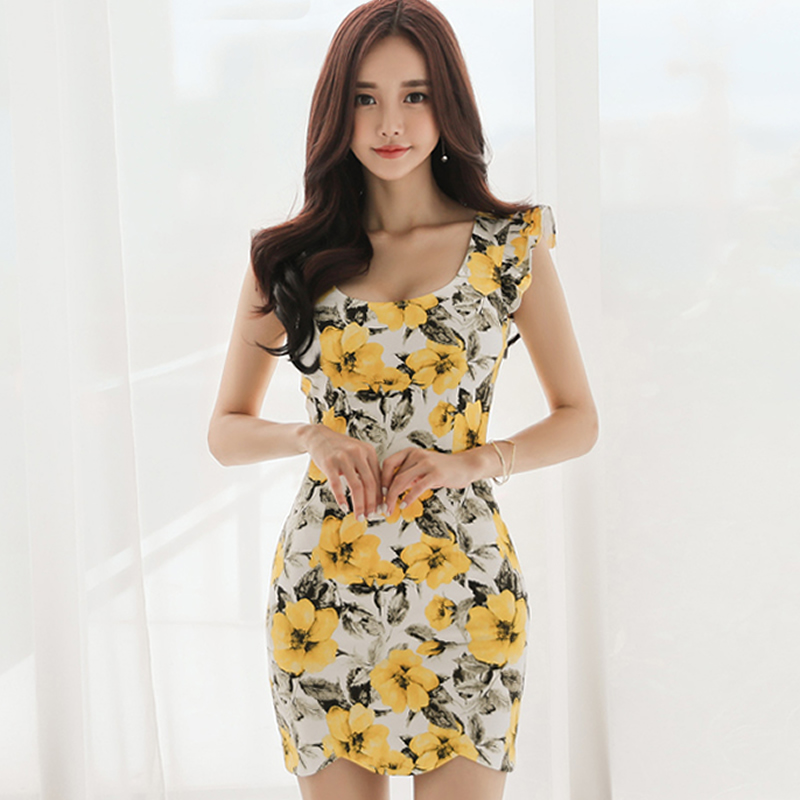 2018 Summer Ruffles Sleeve Sheath Women Cloth Bodycon Mini Print Sexy Party Dress