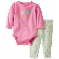 LL2-024,New Article,  Baby Girls 2-Piece Set, Cute Bodysuit and Cherry Printed Legging, Original, Free Shipping