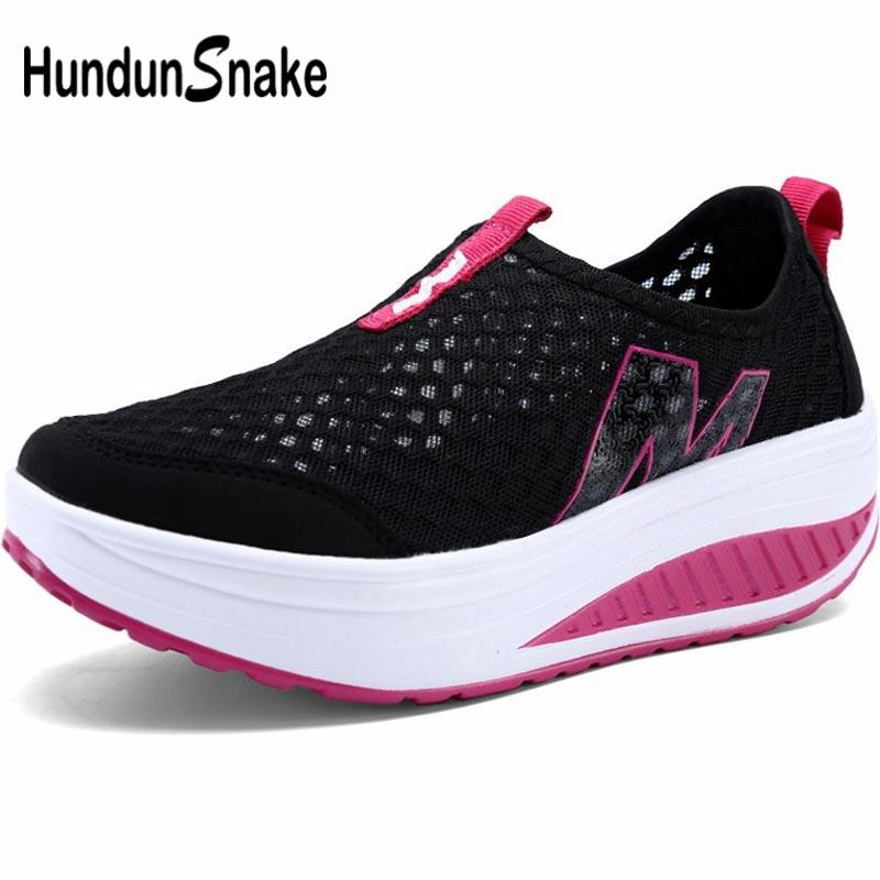 Hundunsnake Summer Sneakers Woman Sports Shoes Sport Women's Running Shoes Tennis Woman Platform Scarpe Donna Black Walk A-057