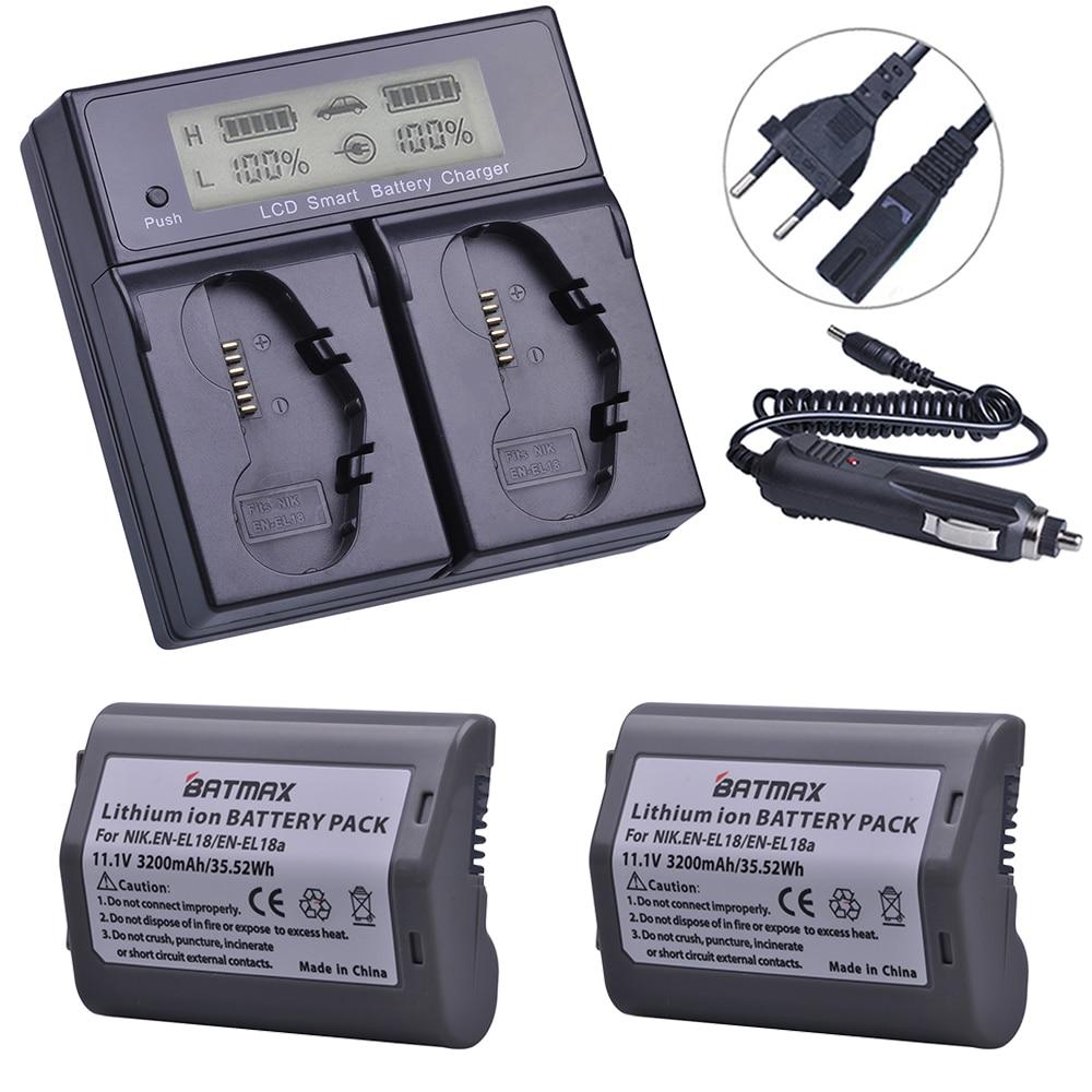 2Pcs 3200mAh EN-EL18, EN-EL18a, EN EL18, ENEL18a Battery + LCD Dual Smart Fast Charger For Nikon D4, D4S, D5 Digital SLR Camera