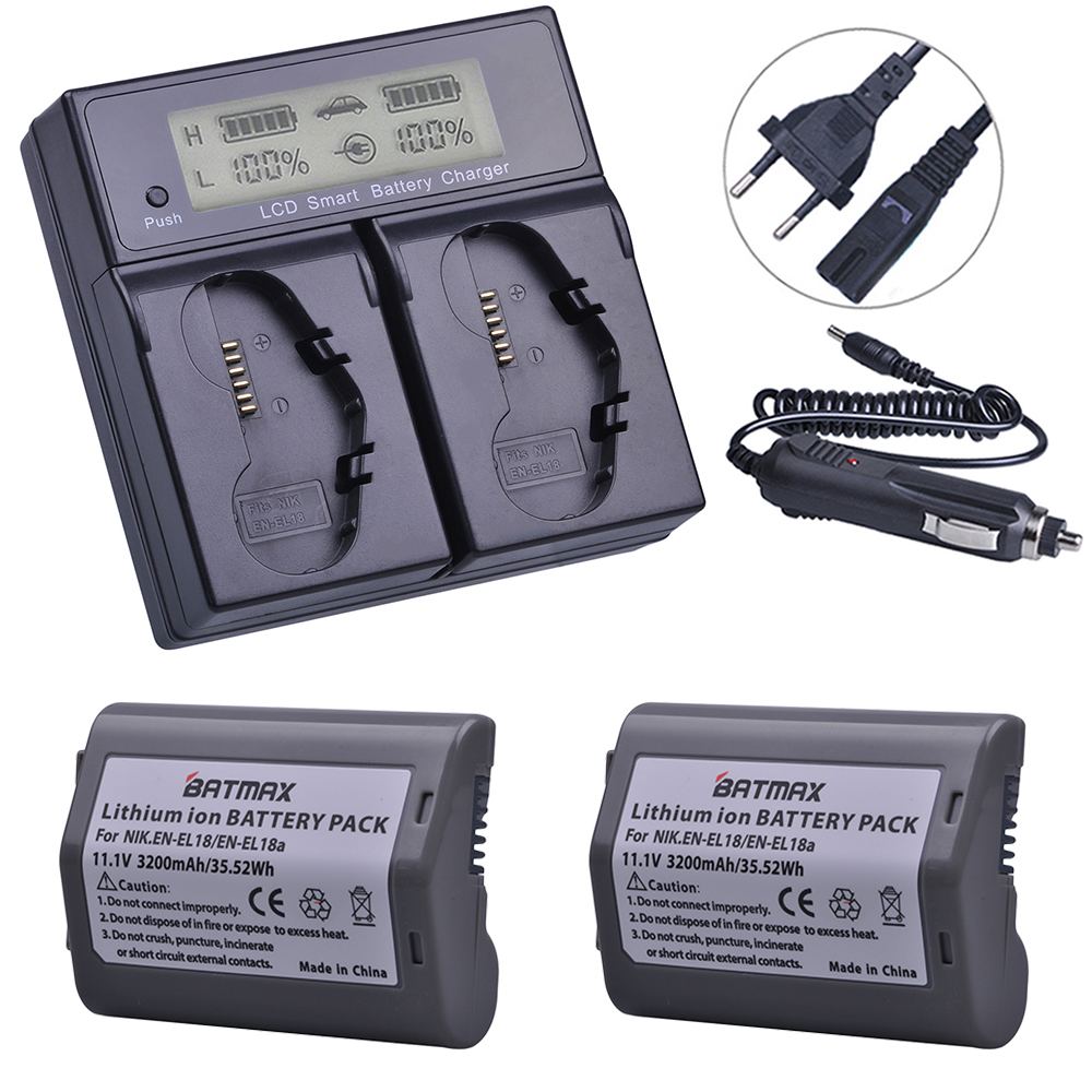 2Pcs 3200mAh EN-EL18, EN-EL18a, EN EL18, ENEL18a Battery + LCD Dual Smart Fast Charger for Nikon D4, D4S, D5 Digital SLR Camera rechargeable camera battery en el18 for nikon made in china