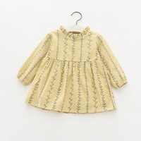 Cute Floral Printed Baby Girls Dresses Spring Autumn Long Sleeve Princess Dress Casual Costume Kids Clothes Tutu Dress