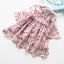 Summer Kids Girls Dress Lace Flower Princess Dress Baby Girls Party And Wedding Party Clothes For 1-6Y Baby Girls