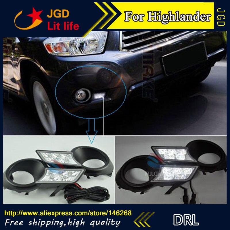 Free shipping ! 12V 6000k LED DRL Daytime running light for Toyota Highlander 2009-2011 fog lamp frame Fog light Car styling 2009 2011 year golf 6 led daytime running light