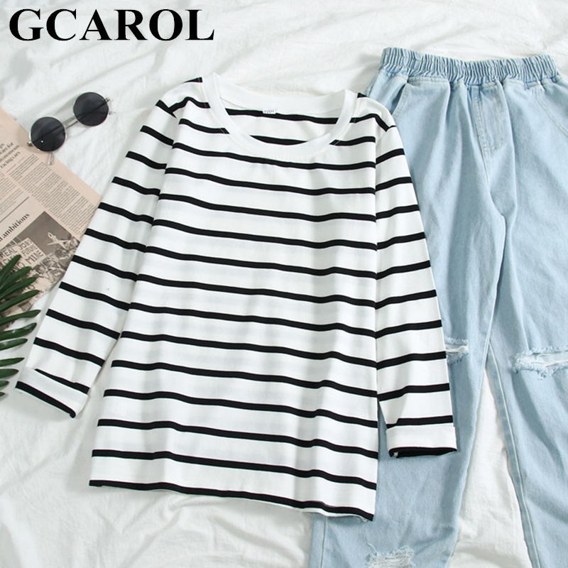 GCAROL 2019 Fall Spring Black White Striped Shirt O Neck Slim Stretch Undershirt Thin Render Unlined Upper Garment Pullover