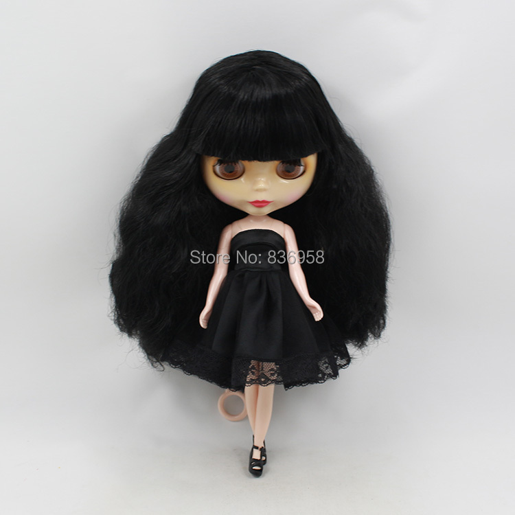 Nude Doll For Series No .230BL117 With Bangs BLACK Long black hair Suitable For DIY Change Toy For Girls purple curly long hair with bangs normal body nude doll suitable for change diy 280bl732 117