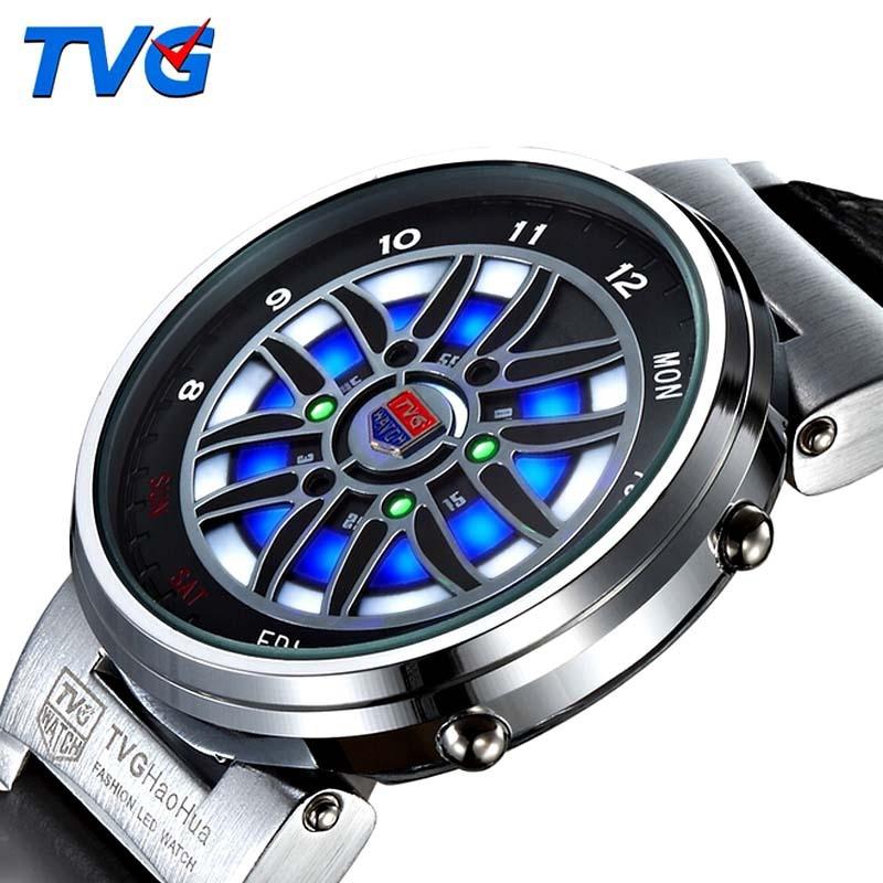 TVG Men Watches Creative Design Car Wheel Led Disply Analog Digital Watches Men Outdoor Sports Dive Watch 30M Waterproof цена