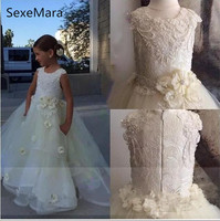 Новый слоновая кость лепестки цветка платье с цветочным узором для девочек для свадьбы кружева 3D цветы жемчуг для маленьких девочек для пер