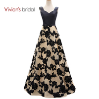 Vivian S Bridal Black Lace A Line Evening Dresses Satin Long Formal Evening Gowns Dresses ED2301