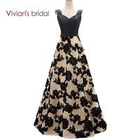 Vivian S Bridal Black Lace A Line Evening Dresses Satin Long Formal Evening Gowns Dresses ED2301