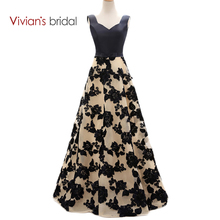 Vivians Bridal  Black Lace A Line Evening Dresses Satin Long Formal Gowns ED2301