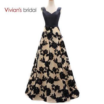 Vivian's Bridal Elegant A Line Evening Dresses Satin Floral Print Lace Long Formal Evening Gown Floor Length Women Party Dresses - DISCOUNT ITEM  30% OFF All Category