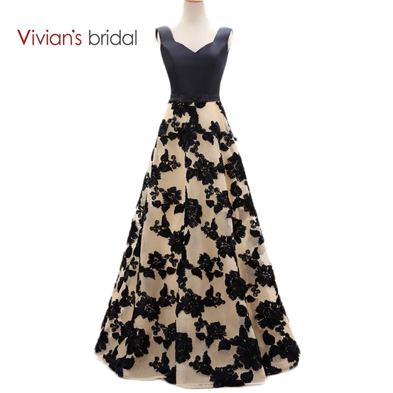 Vivian's Bridal Elegant A Line   Evening     Dresses   Satin Floral Print Lace Long Formal   Evening   Gown Floor Length Women Party   Dresses