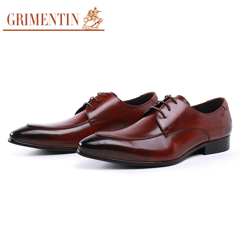Mens Genuine Leather Gentleman Dress Shoes Sequins Derby Cowhide Leather Embossed Skin Wedding Business Shoes 2018 Formal Shoes Men's Shoes
