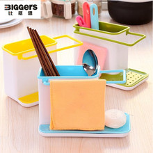 Free shipping Multi-function ABS kitchen storage rack kitchen sink soap brush drain shelf rack 3 colors