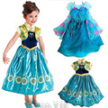 Mixstyle 2016 Girls Cartton Anna Elsa Dress Kids Princess Girl Baby Costume Children Party Cloth Christmas Gift Princess Dresses