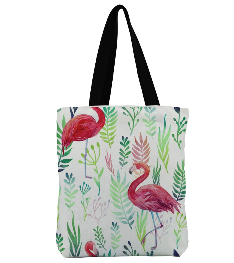 3D Printed Flamingo Bag Canvas Beach Bags Single Shoulder Handbags Ladies Tote