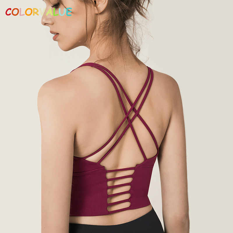 681e2446ed618 Colorvalue Solid Spaghetti Straps Yoga Gym Crop Tops Women Quick Dry Running  Sport Bras Wireless Fitness