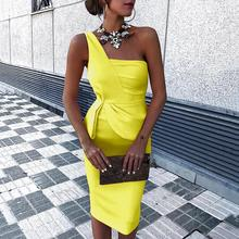 2019 Women Elegant Sexy Stylish Cut Out Slim Fit Sleeveless Party Dress Solid Color One Shoulder Ruched Bodycon Dress