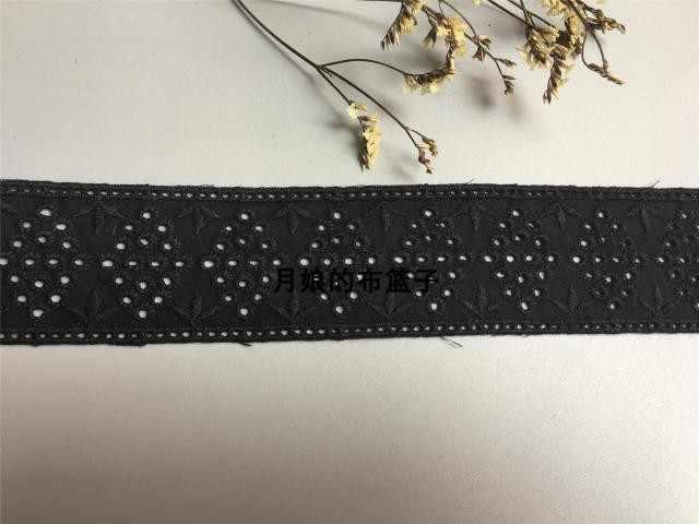 DIY اليد مبطن القطن النسيج الدانتيل الأسود سميكة القطن مزدوجة التطريز الدانتيل 4.5 سنتيمتر