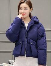 Размер M ~ XL Толстый Пуховик Женщины Зимнее Пальто Хлопок Корея Стиль Прекрасный Темно-Синий С Капюшоном Теплые Твердые Пальто Мода горячая