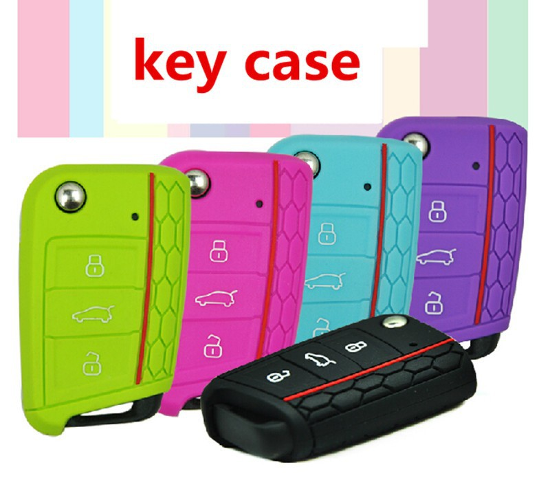 Car Accessories Key Case Key Bag Key Cover For Volkswagen VW Golf 7 mk7 Skoda Octavia A7 Silicone Key Portect Case1pc per set (3)