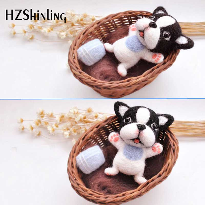 Wool Felt Craft DIY Non Finished Poked Set Handcraft Kit for Needle Material Bag Pack-Bull Dog Doll For Girls