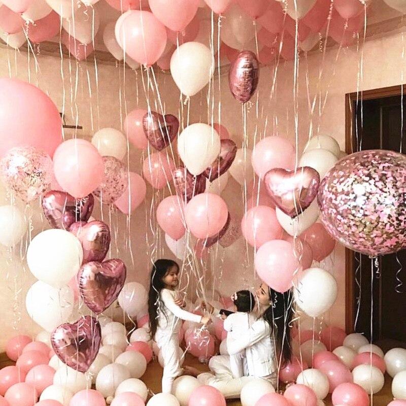 Balões de látex rosados de 10 polegadas, balões laminados de látex branco e rosa de 18 polegadas, para decoração de festas infantis, casamentos e aniversários brinquedo,