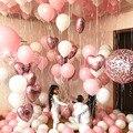 Воздушный шар из фольги в форме сердца, 18-дюймовый шар из розового золота с конфетти, белый и розовый цвета, латексные шары, украшение для сва...