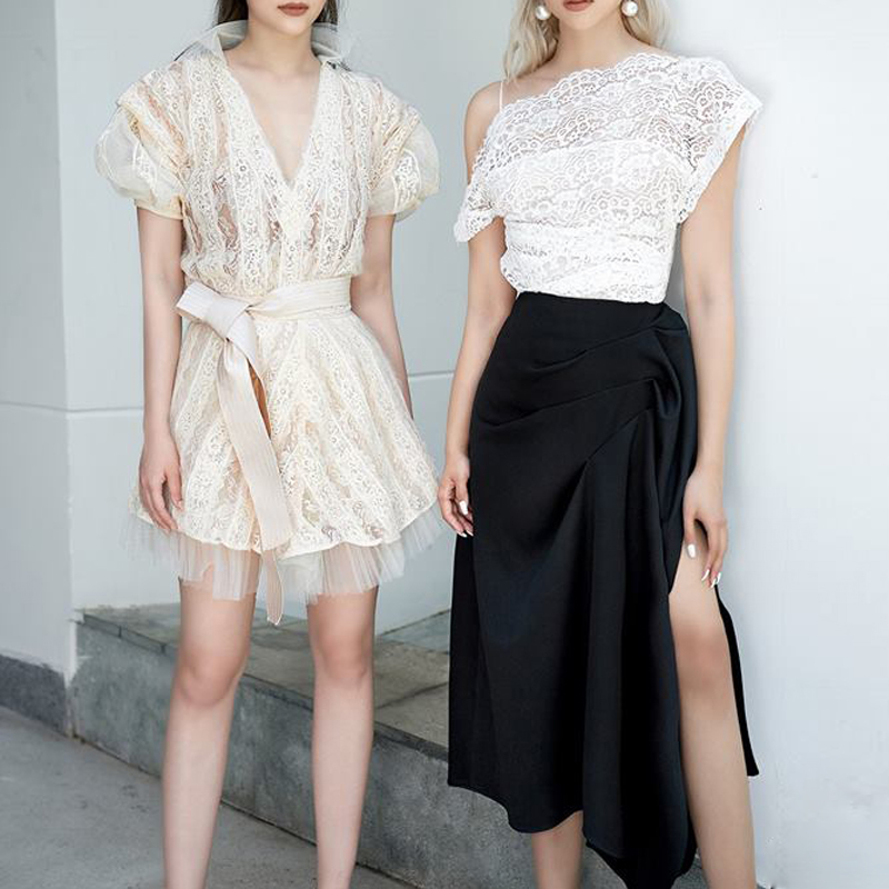 Max Spri 2019 New Vestidos White Lace Hollow Out Floral Top Black Split Drapped Skirt Two Piece Women Sets Evening Party Dress in Women 39 s Sets from Women 39 s Clothing