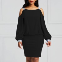 Off Shoulder Bodycon Dress Women Autumn 2019 Pullover High Street Elegant Office Ladies Workwear Simple Sexy Black Short Dresses