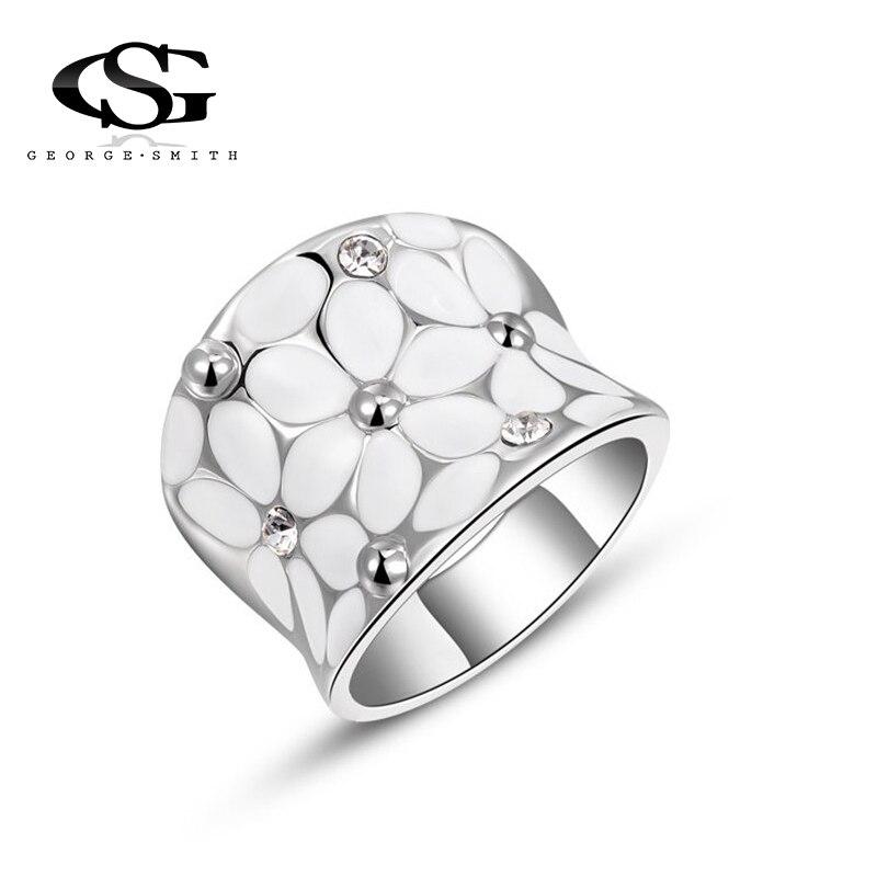 GS 2018 новый кристалл Кольца для Для женщин белого цвета со стразами Нержавеющаясталь серебро Цвет Свадебные женский цветок Кольца Подростк...