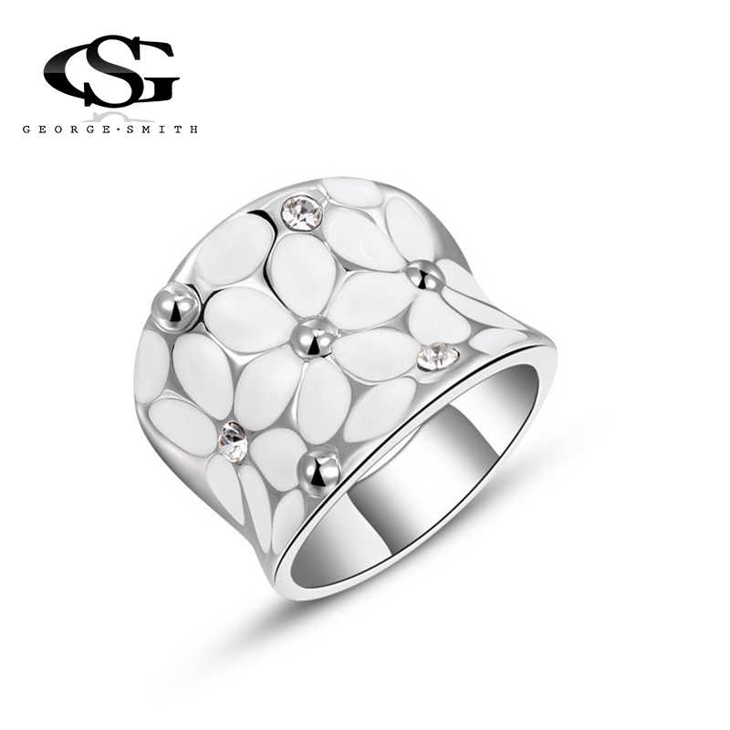 GS 2018 Crystal Rings For Women White Flower Shiny Rhinestone Silver Color Wedding Jewelry Female Ring Bride Engagement Ring R2I