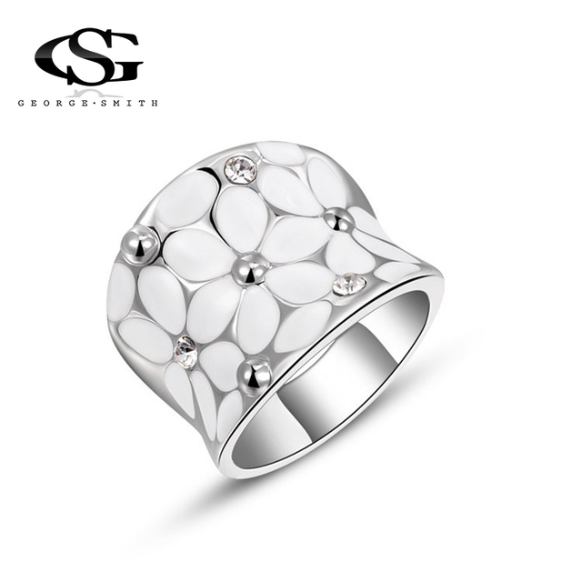 GS 2018 Crystal Rings For Women White Flower Shiny Rhinestone Silver Color Weddi