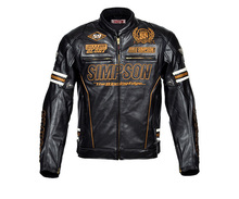Simpson anniversary PU leather motorcycle racing jacket motorbike jacket with 5 pcs protectors J4133ANV free shipping