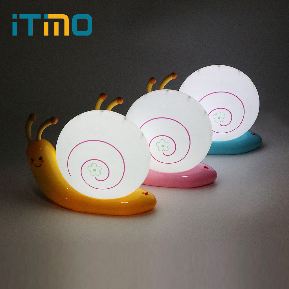 iTimo Novelty LED Night Light Snail Table Lamp Sleeping Bedside Light USB Rechargeable Lamp Cartoon Cute Baby Kids Birthday Gift itimo led night light baby sleeping kids bedside light bedroom decoration cartoon star night lamps novelty nightlight