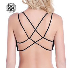 Seamless Women's Sport Bra Sexy Criss Cross Back Strap Padded Crop Top Fitness tube top