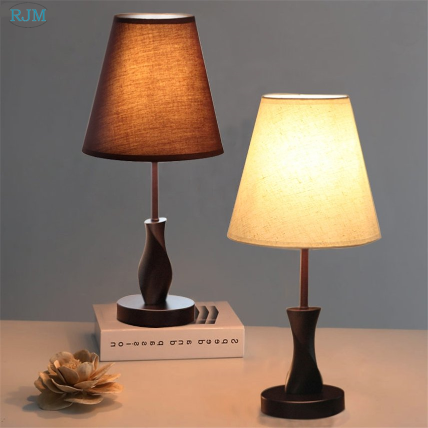 Living Room Lamp Shades: Modern Brief Wooden Table Lamps Simple Cloth Lamp Shade
