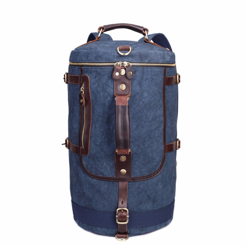 Canvas Cowhide Leather Cotton Bag Rucksack Mountaineering Book School Large Travel Handbag Tote