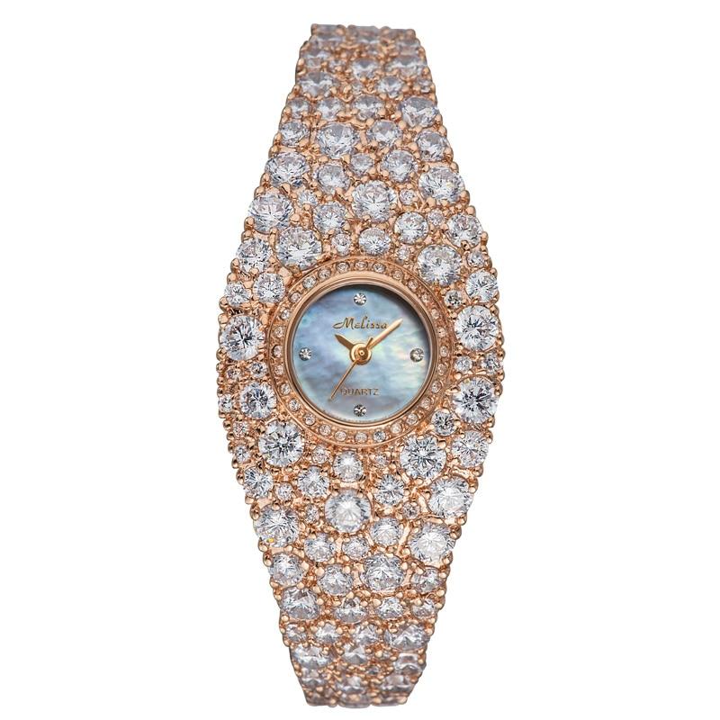 Top Melissa Lady Women s Watch Japan Quartz Fashion Dress Bracelet Rhinestone Shell Luxury Crystal Party