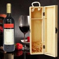 Fabrikanten Maatwerk Groothandel Wijn Doos Hoogwaardige Grenen Hout Rode Wijn Carrier Gift Verpakking met Lederen Tote