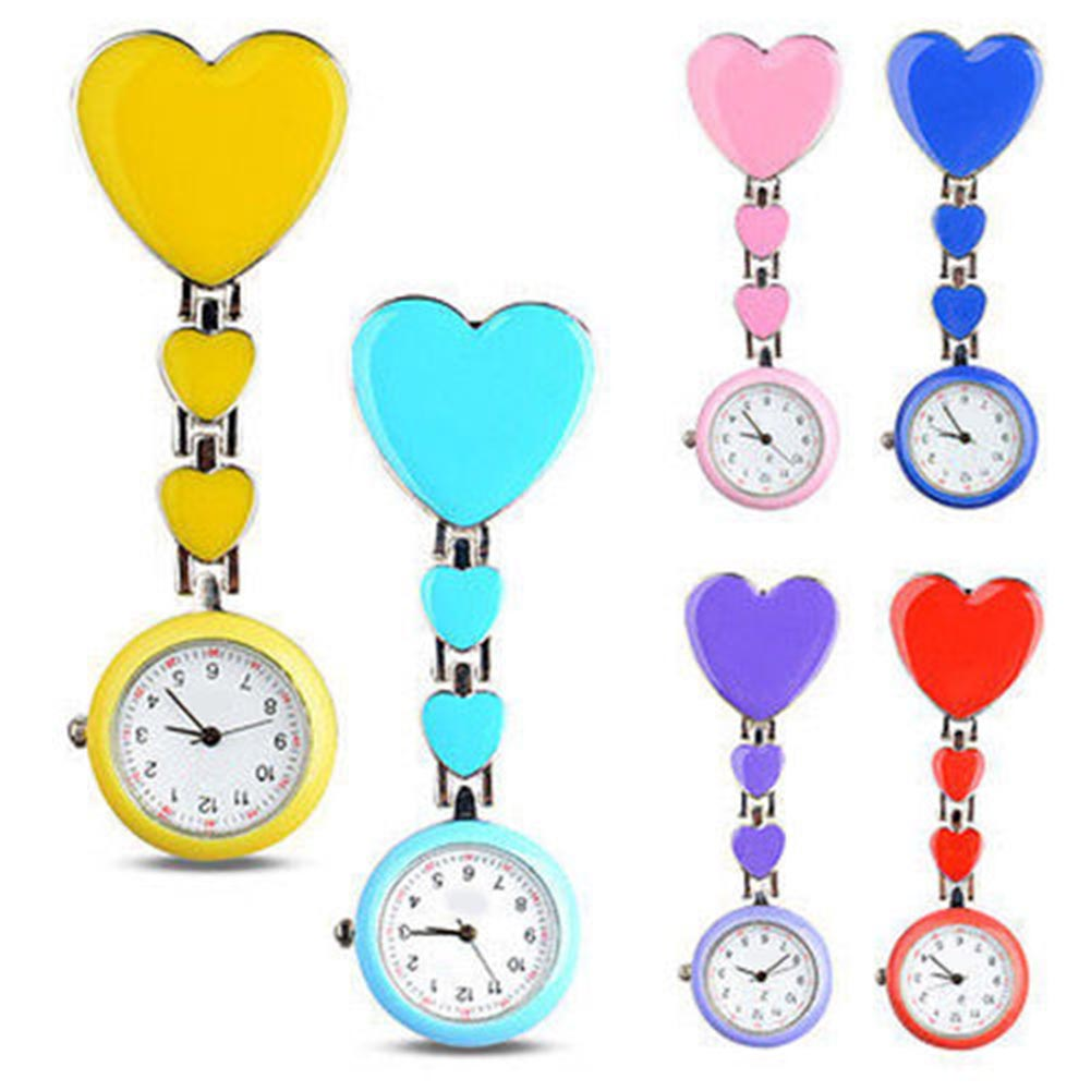 Nurse Love Heart Shaped Watch Pocket Brooch Clip Medical Nurse Pocket Nursing Watch TT@88